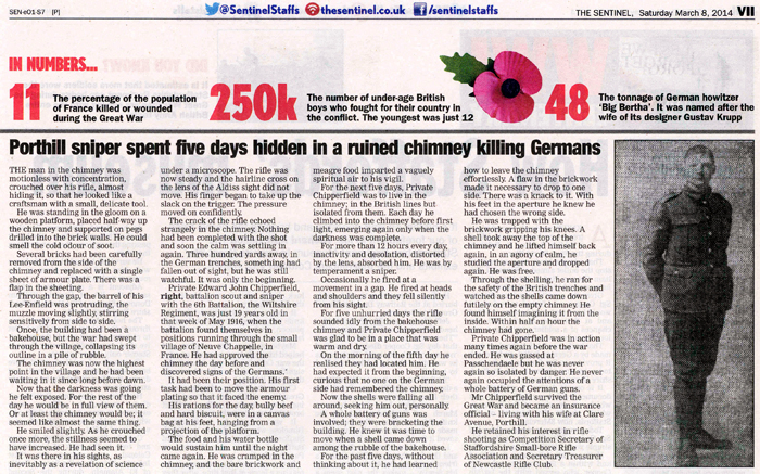 This picture shows the article published in the Sentinel Newspaper on Saturday 8th March 2014, which gives an account of the WW1 exploits of Edward John Chipperfield.  Click here to view a larger version of this picture in PDF format.  Opens in a new browser window.