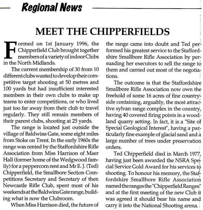Picture shows the 'Meet the Chipperfields' article, which appeared in The Rifleman magazine - Autumn 1997 - Issue 731.  A transcription of the article is shown below this picture.