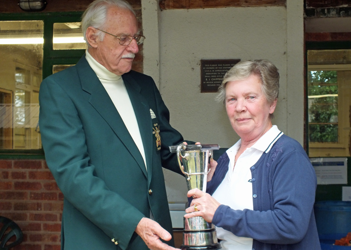 Photograph shows Mrs M Bayley, pictured right, receiving The Moat Cup for 2014 from SSRA President - Major (Retired) Peter Martin, MBE.