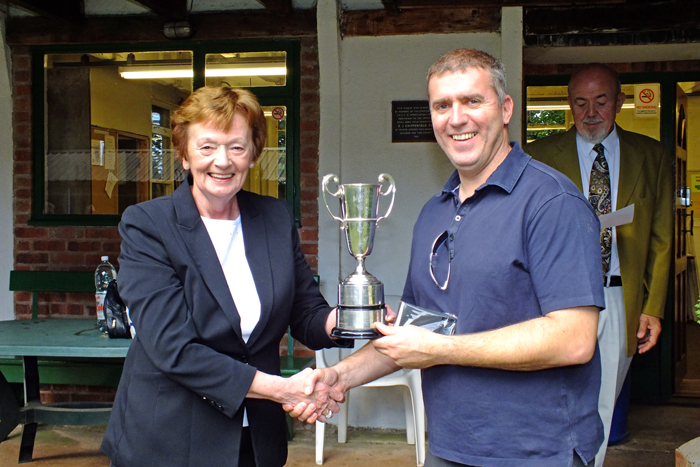 Photograph shows Mary Jennings, pictured left, presenting the Moat Cup and the Staffordshire Class 'C' Aggregate 1st Place Medal to Stuart Powell, pictured right.