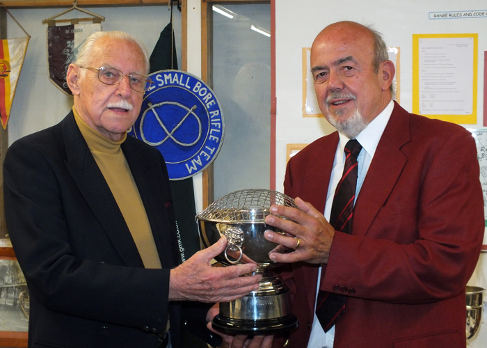Photograph shows SSRA President - Major (Retired) Peter Martin MBE, pictured left - presenting the K. Madeley Rose Bowl to Richard Tilstone, pictured right.