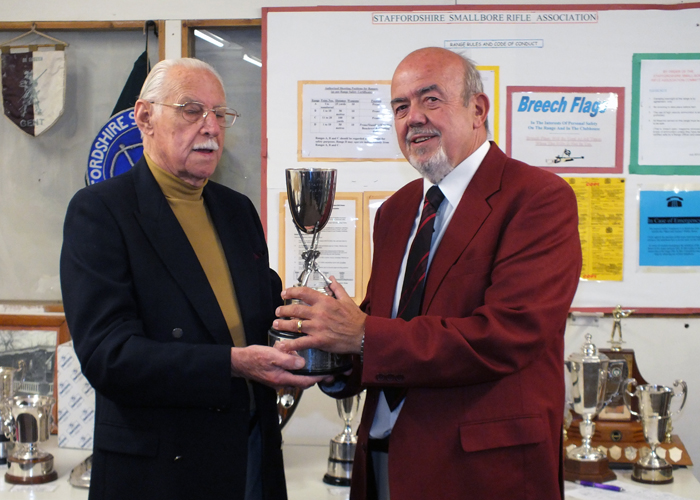 Photograph shows SSRA President - Major (Retired) Peter Martin MBE, pictured left - presenting the Swynnerton Cup to SSRA Chairman Richard Tilstone, pictured right.