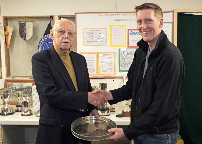 Photograph shows SSRA President - Major (Retired) Peter Martin MBE, pictured left - presenting the 'Come Day - Go Day' Salver to Simon Green, pictured right.